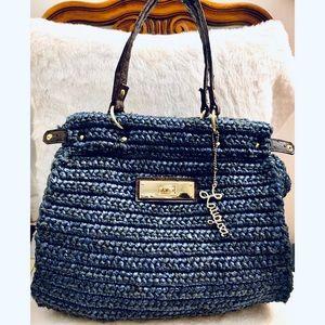 Anthropologie Laugoa straw woven &leather tote bag